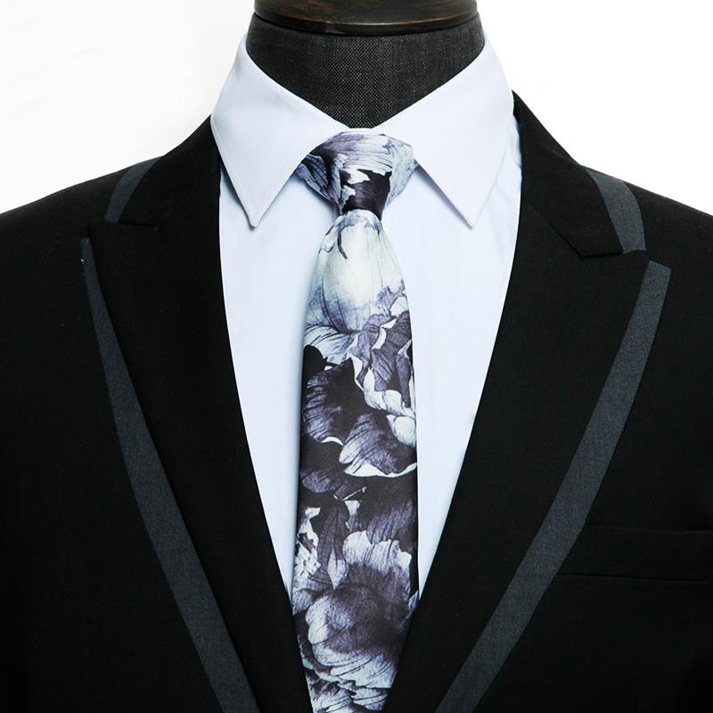 Free Shipping New Male Fashion printed Tie men's summer black and white groom rose print korean literary youth wedding necktie
