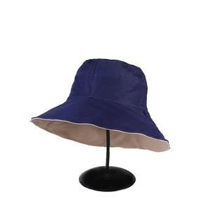 Double-Sided Wide Brim Solid Color Large Bucket Hat Women Men Fishing Hats Fashion Sun Panama Caps Bonnet Hats For Women Bob