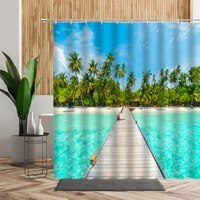 3d summer beach scenery shower curtain holiday house palm tree beach background bathtub decoration bath curtains set waterproof