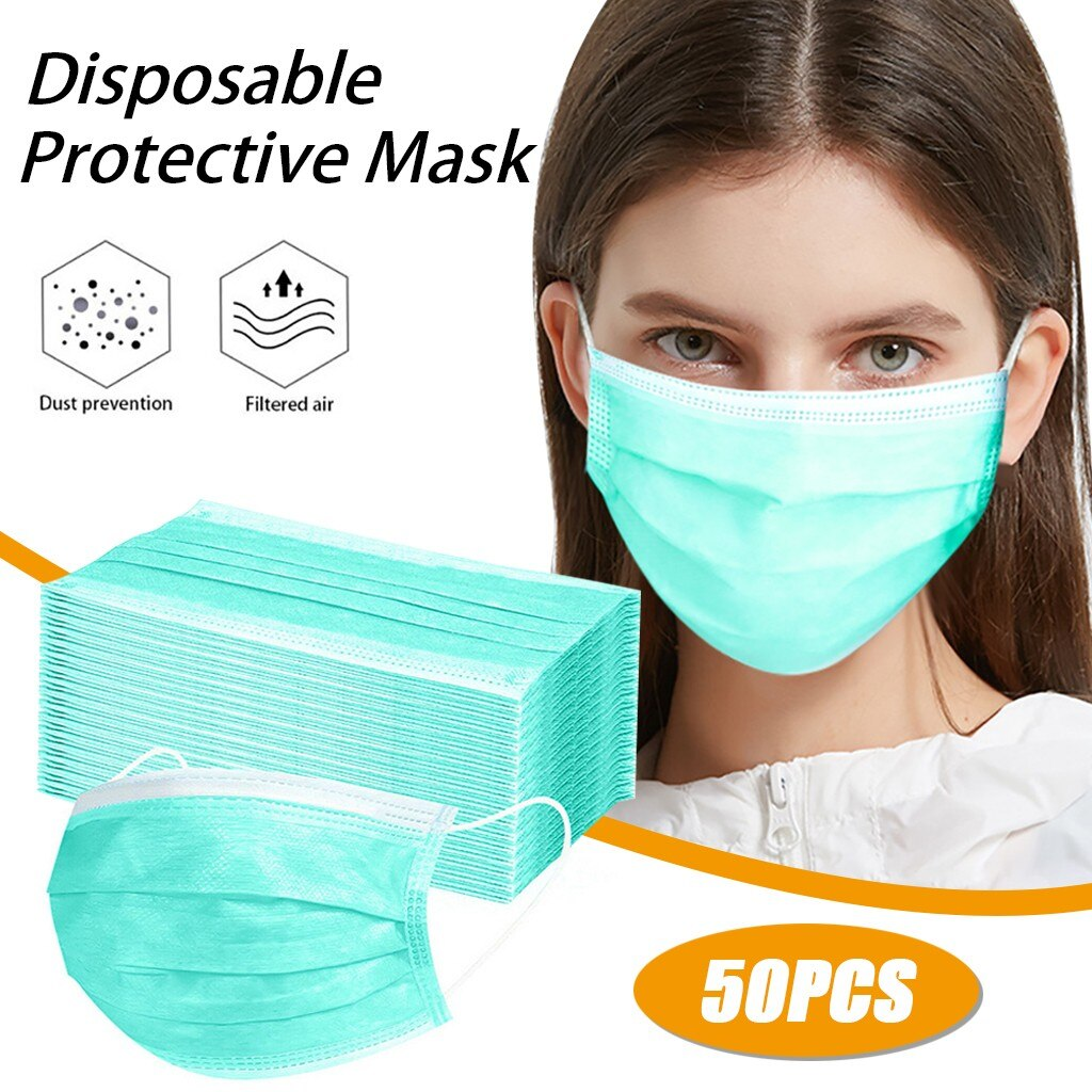 50pcs Blue Good Quality Disposable 3-ply Breathable Face Ma Sk Lips Care Ear Loops Disposable Msk Tr