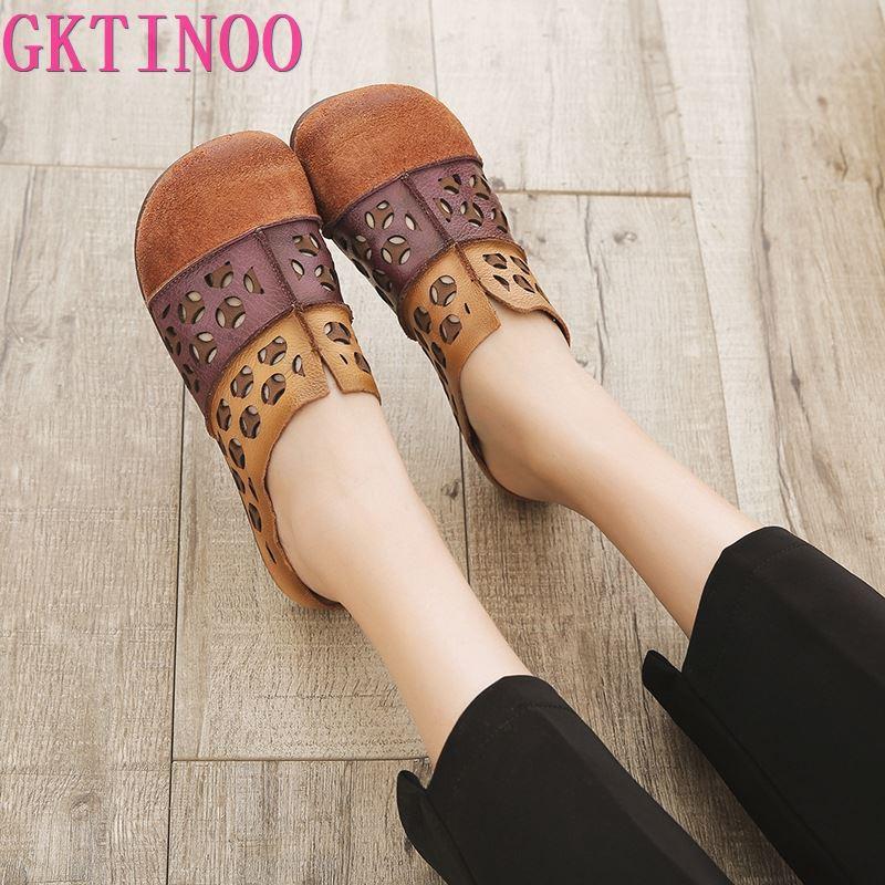 GKTINOO النساء الجلود البغال التطريز النعال حذاء مسطح الصيف اليدوية جلد طبيعي النساء النعال لينة حذاء الجوف خارج