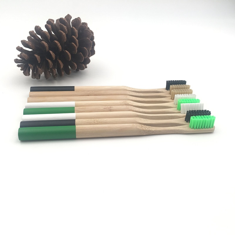 Cepillos de dientes de bambú, 7 colores, 1 unidad, bambú Natural, Arco Iris, cerdas suaves ecológicas, mango de madera, cepillo de dientes, cuidado bucal de viaje