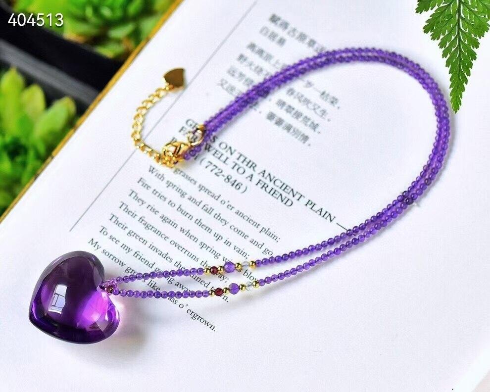 Genuine Natural Purple Amethyst Quartz Heart Love Carved Pendant 25.1*28.1*16.3mm Women Men Ametrine Fox Necklace Jewelry AAAAA