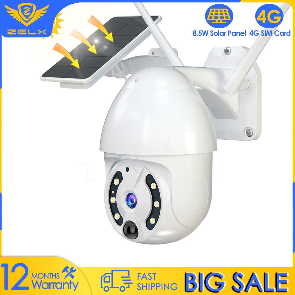 4G SIM Card Solar Video Surveillance Camera WiFi 1080P Waterproof CCTV Security IP Camera Battery Motion Detection Outdoor IP66