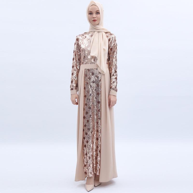2019 muçulmano luxuoso maam am manga longa vestido dee chamada em alta densidade paillette bordado longuette