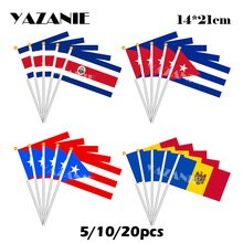 Yazanie 14*21cm 5/10/20 pçs costa rica cuba porto rico moldova pequena mão bandeira poliéster país bandeira nacional impressão