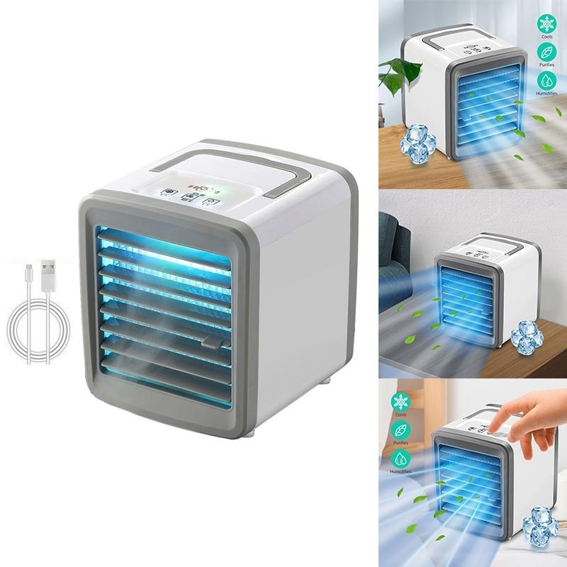 مكيف مبرد الهواء مروحة صغيرة مكيف هواء متنقل لغرفة المنزل تبريد الهواء سطح المكتب USB مروحة تكييف الهواء
