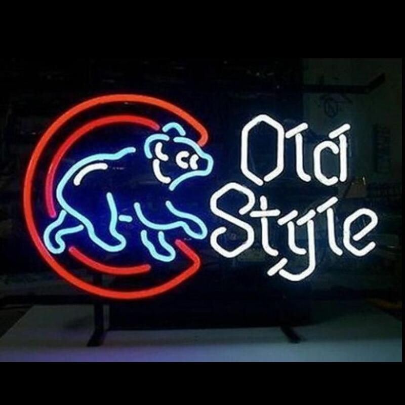 Custom Chicago Cubs Old Style Glass Neon Light Sign Beer Bar