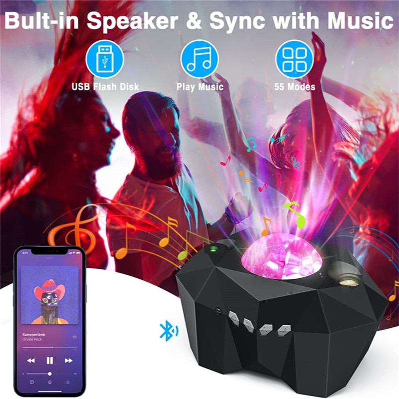 Aurora Star Lights Laser Galaxy Starry Sky Ocean Wave Projector Night Light Colorful Nebula Moon Lamp with Music Speaker Star enlarge