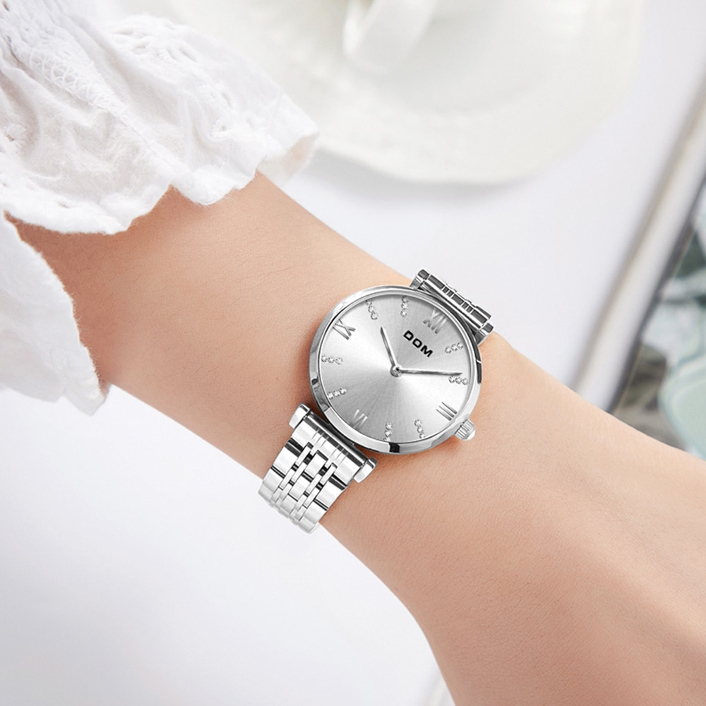 DOM fashion ladies watch casual fashion luxury diamond Roman numerals waterproof swimming stainless steel strap G-1341 enlarge