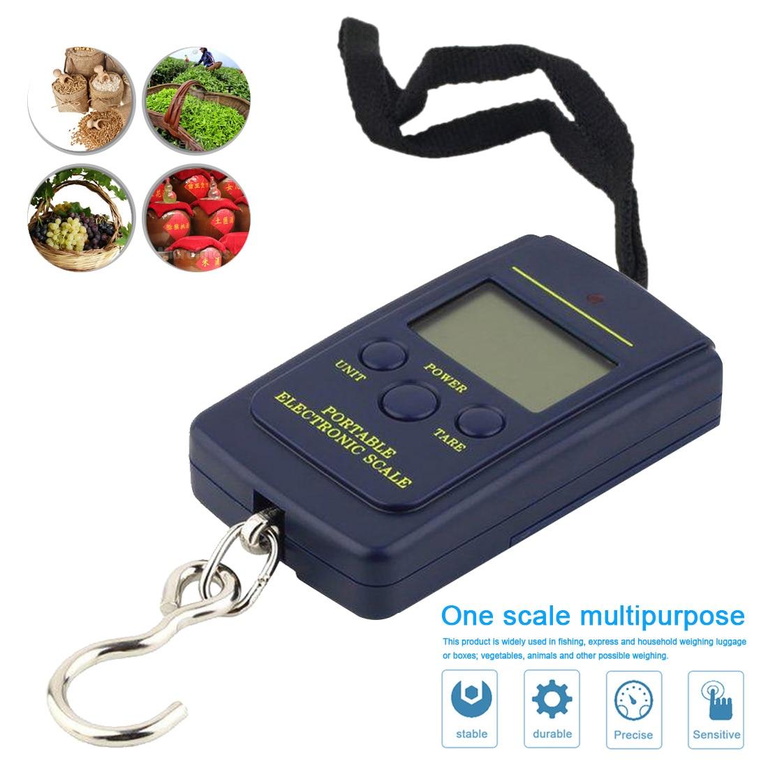 Цифровые кухонные весы, мини-инструменты для рыбалки, багажа, путешествий, электронные весы с крючком до 40 кг