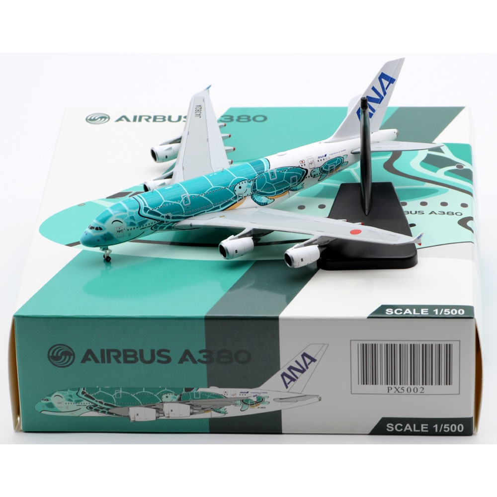 """1:500 Alloy Collectible Plane JC Wings PX5002 ANA Airlines """"Flying Honu Livery"""" Airbus A380 Diecast Aircraft Jet Model JA382A"""