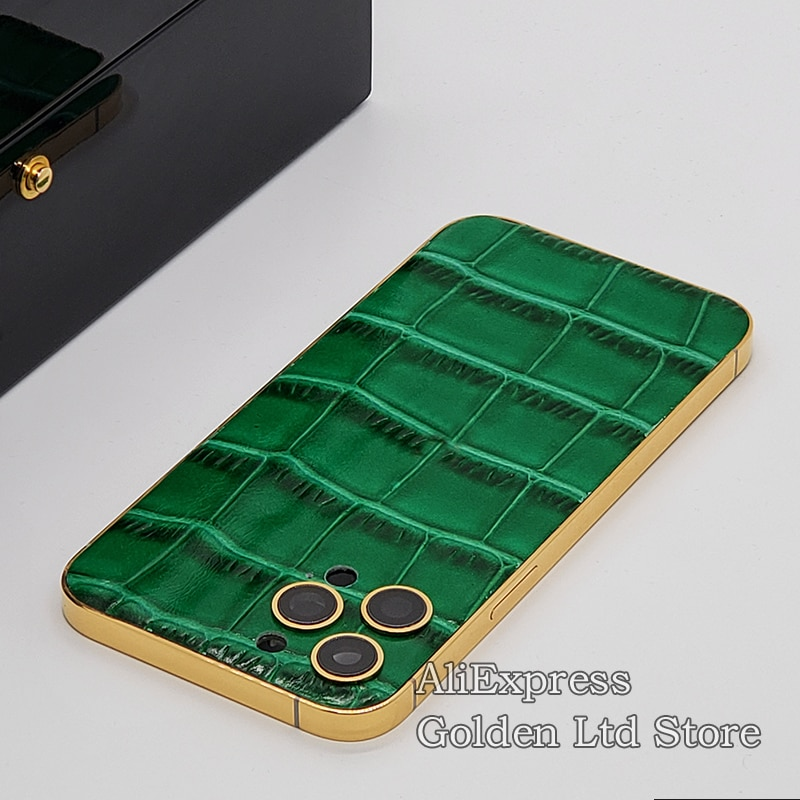 Review 24K Gold housing Jade green Crocodile skin For iPhone 12Pro Max Limited edition 11 Xs Middle Frame with Logo
