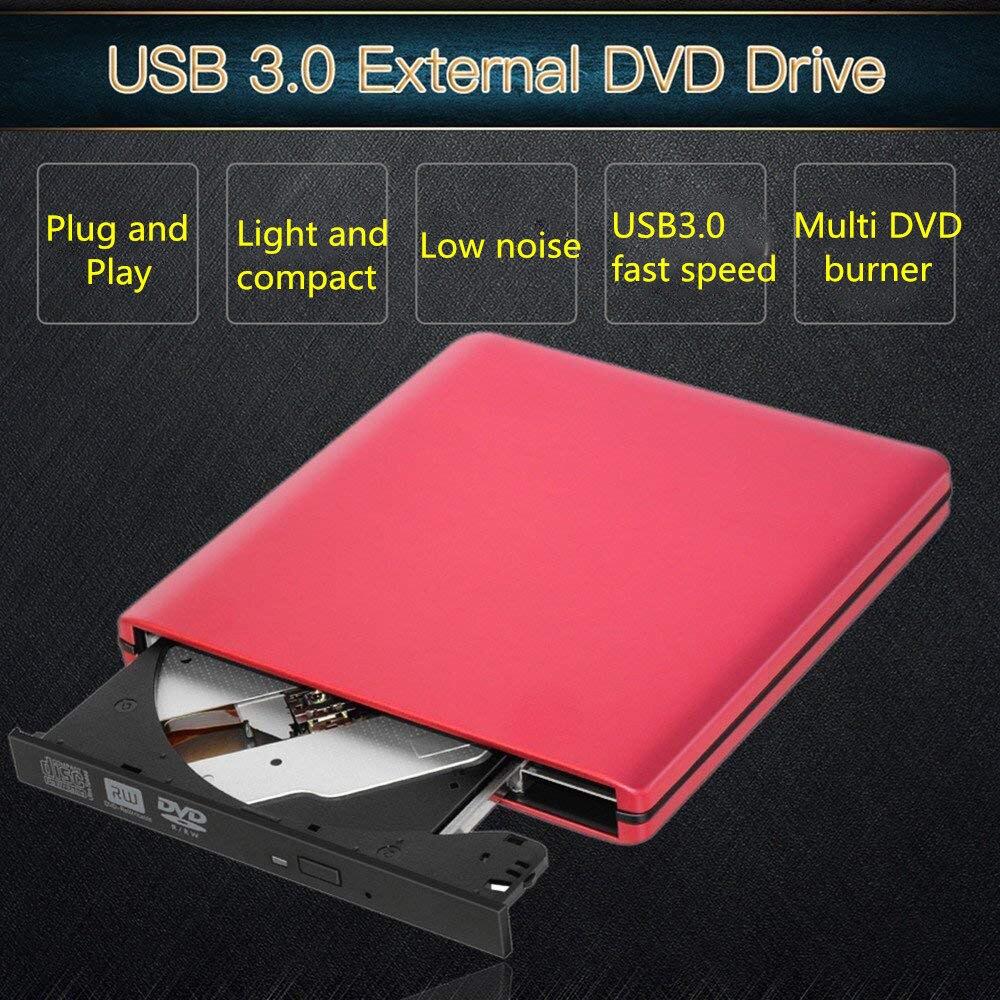 KuWFi Unidad de DVD externa Unidad óptica USB 3.0 CD Grabadora de DVD Grabadora de CD-RW Lector Grabador para computadora portátil Windows PC