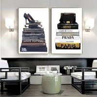 canvas poster fashion books and prints bag high heels illustration art canvas painting vogue pictures for living room home decor