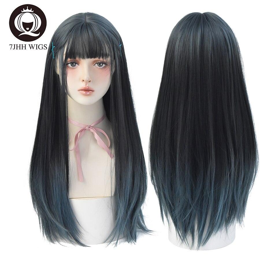7JHH ويغستور تأثيري لوليتا طويل مستقيم الأزرق شعر مستعار اصطناعي الصيف مقاومة للحرارة الشعر الأسود رئيس الطبيعية غير عاكس شعر مستعار