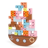 wooden balance building blocks stacking high wooden blocks toy animal educational montessori stacking toys for children gift
