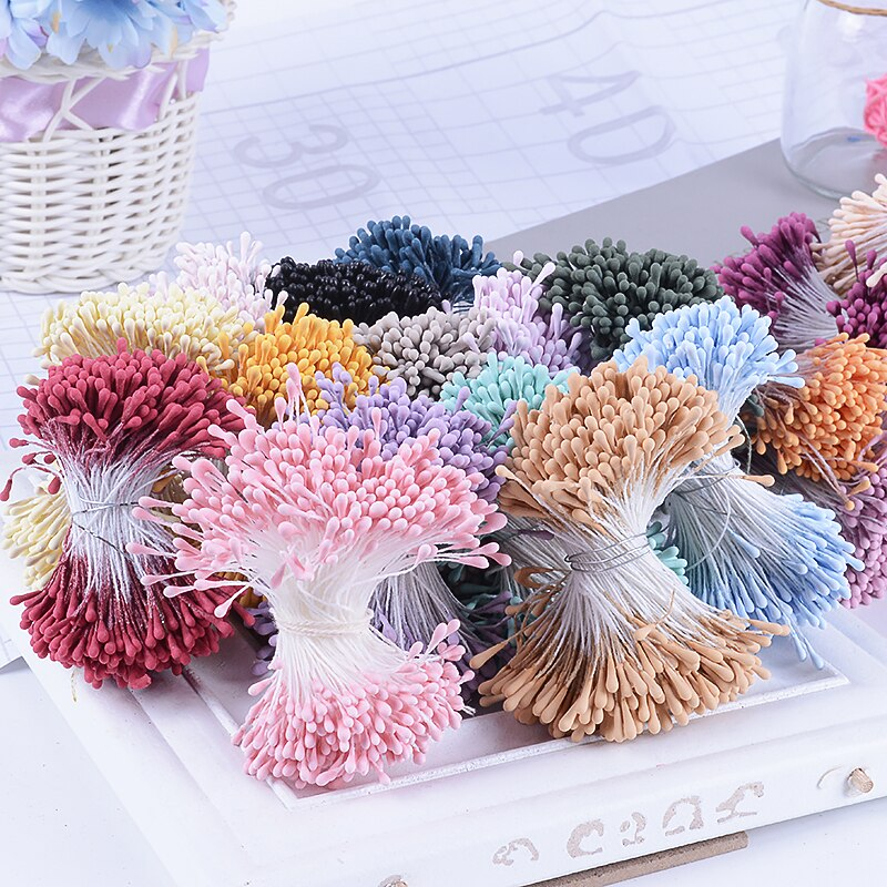 400pcs 1.5mm Mini Stamen Sugar Artificial Flower Head For Wedding Party Home Decoration DIY Christmas Scrapbook Accessories