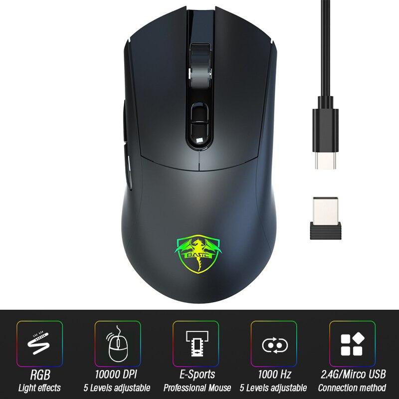 ماوس لاسلكي 10000 ديسيبل متوحد الخواص ، بصري ، USB ، 5 أزرار ، 2.4 جيجا هرتز ، لأجهزة الكمبيوتر المحمول والكمبيوتر الشخصي