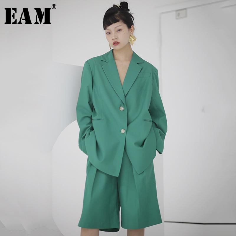 [EAM]  Women Green Button Split Brief Big Size Blazer New Lapel Long Sleeve Loose Fit  Jacket Fashion Spring Autumn 2020 1U309