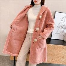 2019 nouveau automne hiver pull Cardigan mode coréenne en vrac épais long agneau corne boucle coton manteau femme vêtements dextérieur à capuche