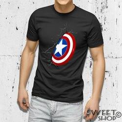 Camisa maglietta capitan américa escudo scudo festa del papa idéia regalo pai