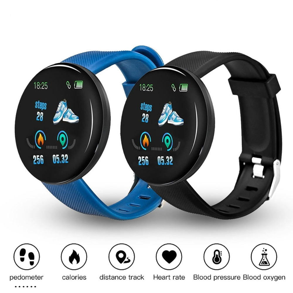 Reloj inteligente D18, pulsera inteligente para hombre, presión arterial, frecuencia cardíaca, Smartwatch con Bluetooth, pulsera de Fitness, pulsera de salud a prueba de agua