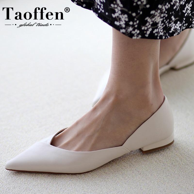 Taoffen-حذاء نسائي مسطح من الجلد الطبيعي ، حذاء بمقدمة مدببة ، عصري ، تصميم عادي ، للاستخدام اليومي ، مقاس 34-39