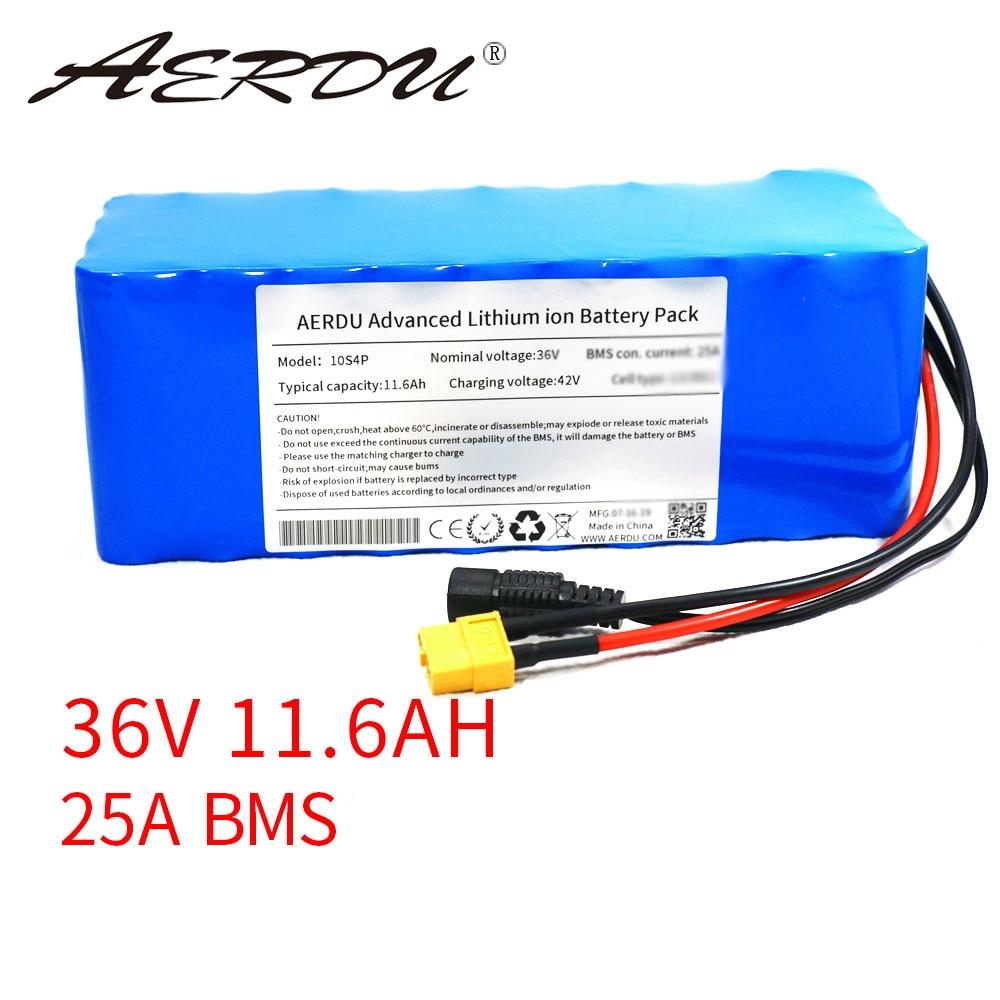 AERDU 36 فولت 11.6Ah 12ah بطارية ليثيوم حزمة 18650 2900mAh 600 واط 500 واط 450 واط 350 واط 250 واط 37 واط Ebike سيارة كهربائية دراجة سكوتر مزود بمحرك