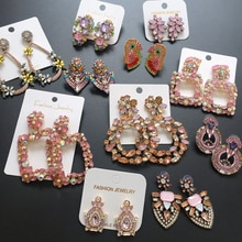 Ztech корейские милые розовые Винтажные серьги-капли, длинные серьги с блестящими кристаллами, серьги-подвески, оптовая продажа, массивное ювелирное изделие