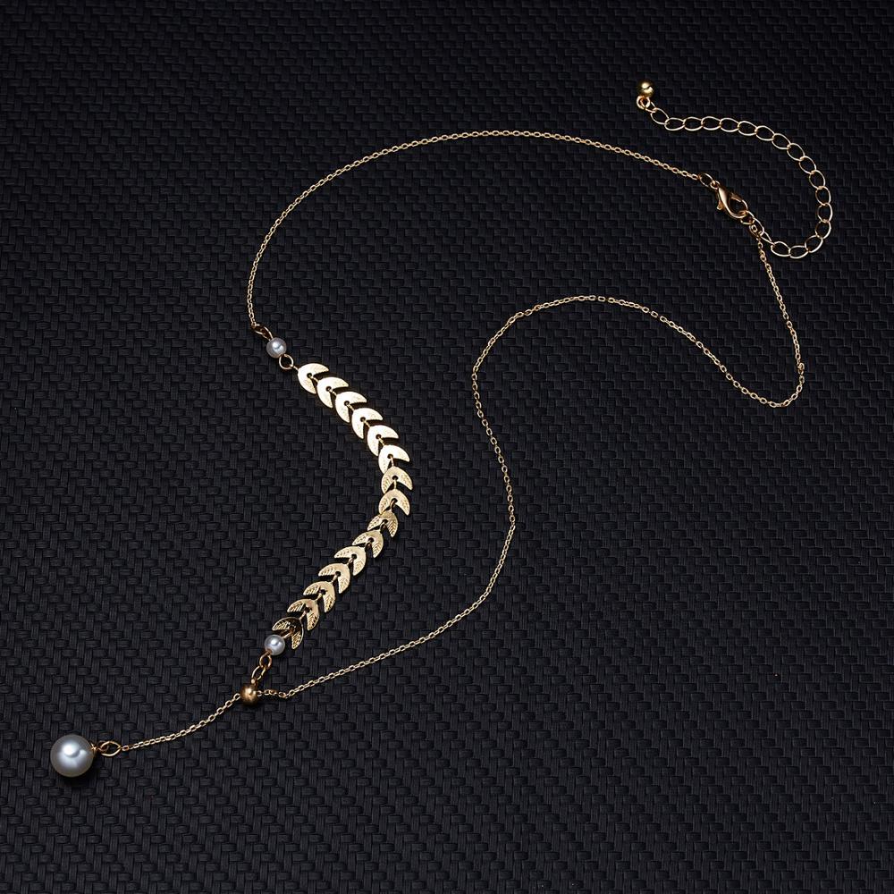 Colar de pingente de orelha de trigo vintage feminino cor de ouro pérola grânulos gargantilha jóias boêmio casamento longo corrente colares ajustáveis