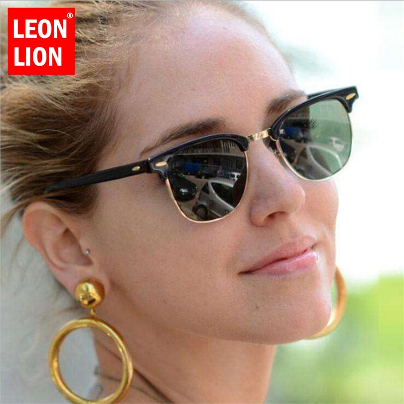 LEONLION Half Metal Sunglasses Men Women Brand Designer Glasses Mirror Sun Glasses Fashion Gafas Ocu