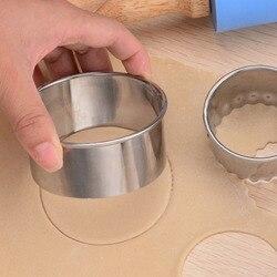 3 pces bolinho pastelaria fabricante bolinhos cortador de cozinha gadgets bolinhos envoltórios moldes redondos/flor em forma de aço inoxidável moldes