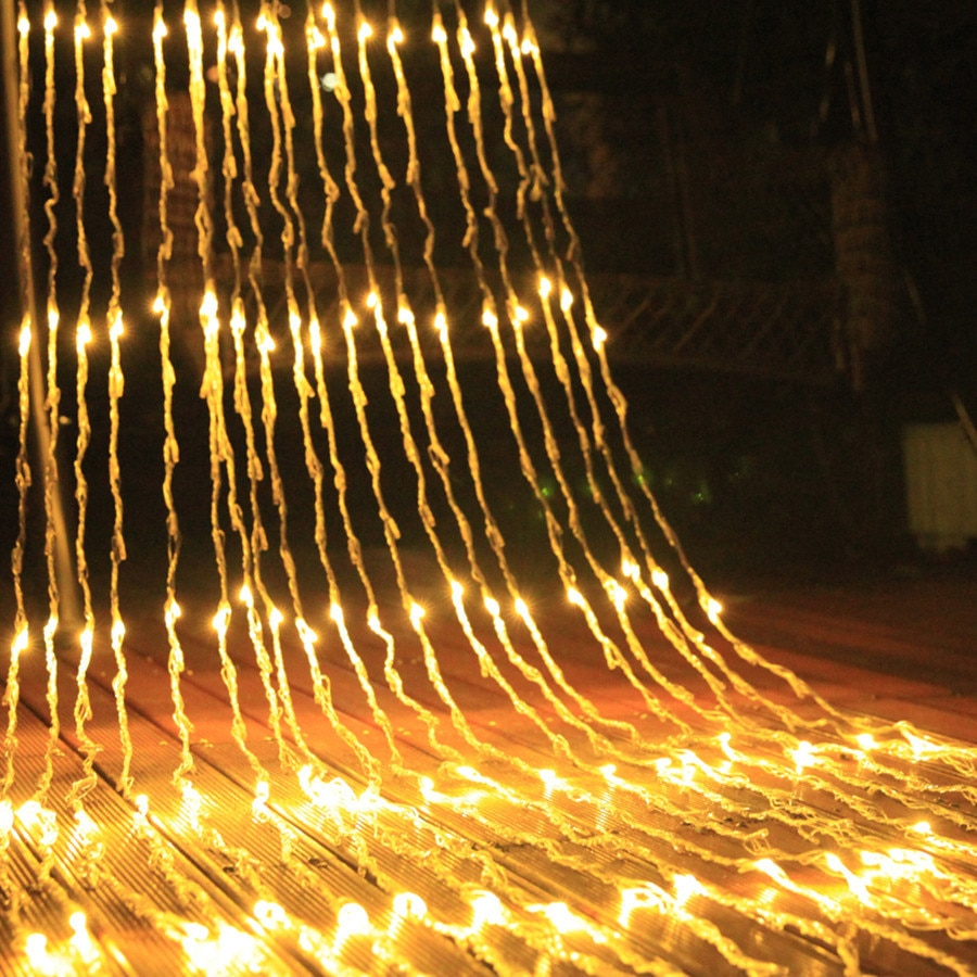 BEIAIDI 3X2M 3x3M cascada de exterior lluvia de meteoros LED Cadena de luz Navidad boda carámbano de cortina guirnalda de hadas