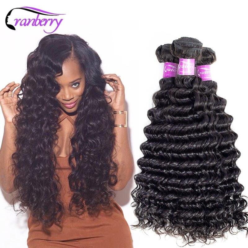 Cranberry Hair Remy Deep Wave Bundles Deal Can Buy 3-4 Pcs/Lot Peruvian Hair Bundles 100% Human Hair