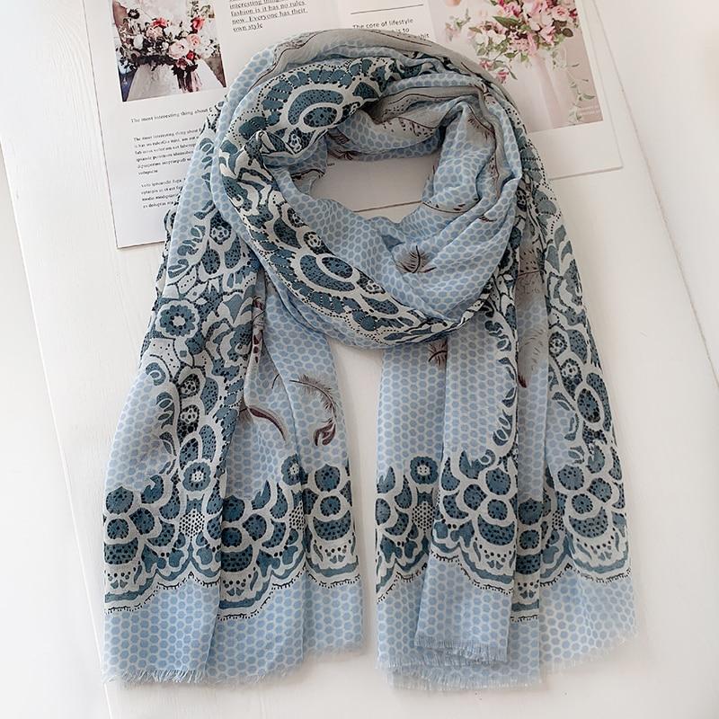 2020 New Feather Print Fringe Scarves Shawls Long Beach Soft Viscose Dot Wrap Scarf Hijab Free Shipping