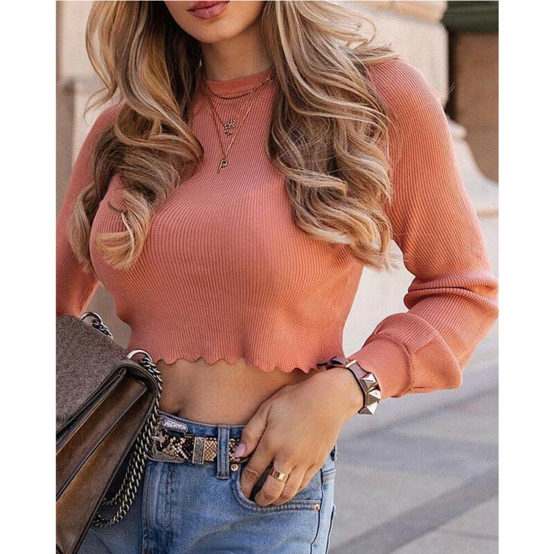 Suéteres finos de manga larga para mujer, Tops cortos informales, camiseta de moda de cuello redondo de mujer, camisa de blusa suelta Lisa informal de otoño elástica