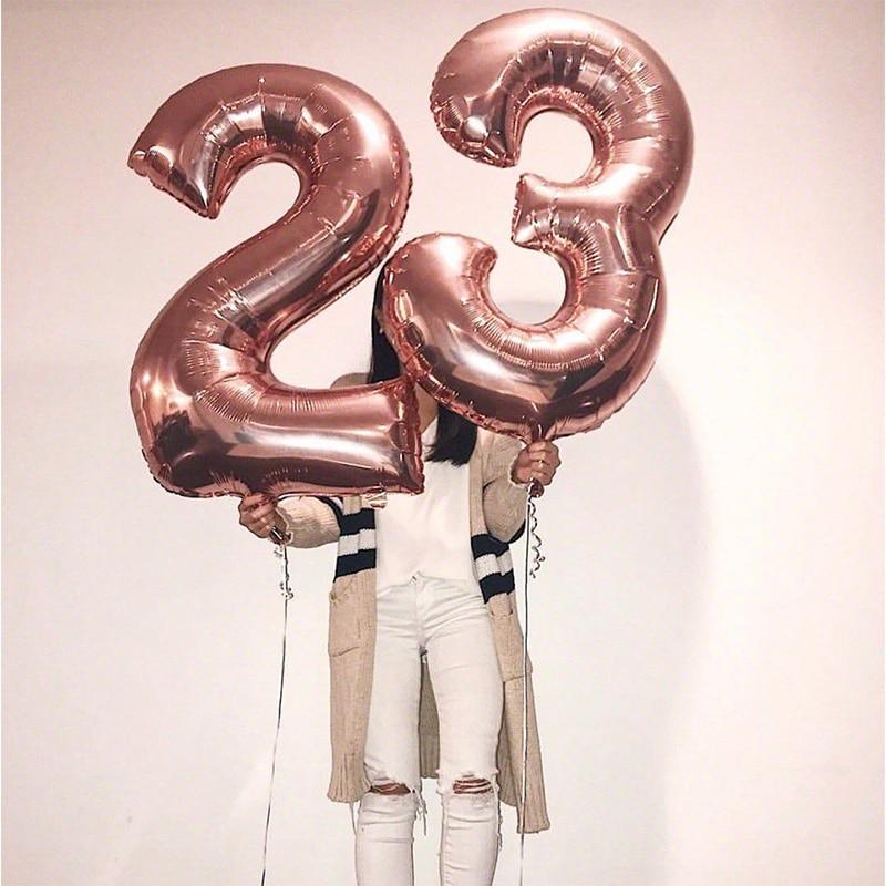 16/32 zoll Anzahl Folien Ballon Rose Gold Silber Verfärben Digitale Globos Geburtstag Party Dekoration Baby Dusche Liefert Globos