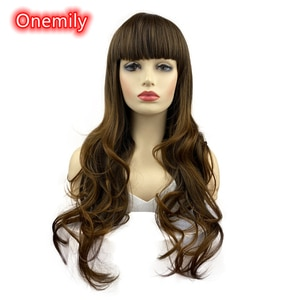 Onemily Long Length Curly Wavy Synthetic Heat Resistant Wigs with Bangs for Women Girls Theme Party Out Dating Golden Brown