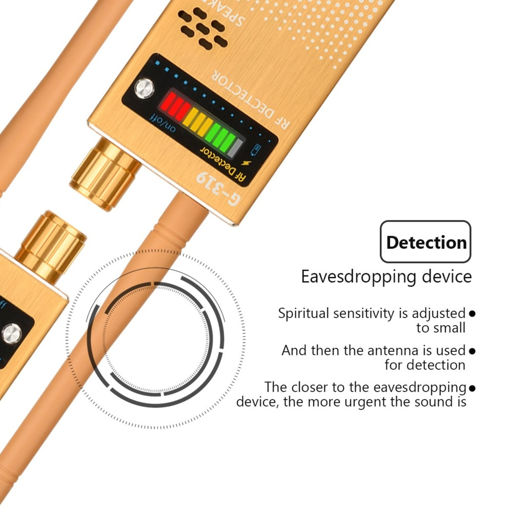 Wireless RF Signal Detector Cell Phone Detector Full Range Signal Bug Detector Finder GSM Device1-8000 MHz G319 enlarge