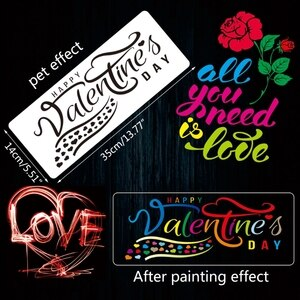 4Pack Happy Valentine's Day Stencils Templates Set for Crafting Wedding Valentine's Day, Plastic Reusable Stencils Templates for