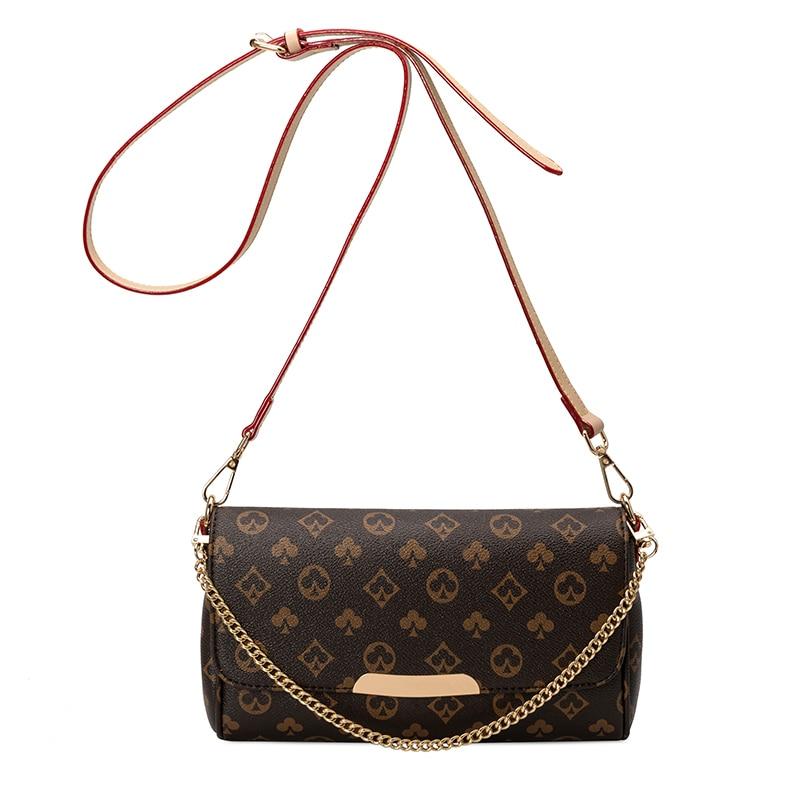 New Crossbody Bag Woman Chains Messenger Bag Ladies Vintage Hot 2020 Leather Clutch Zipper Bag Floarl Classical Shoulder Bags zipper chains magnetic closure clutch bag