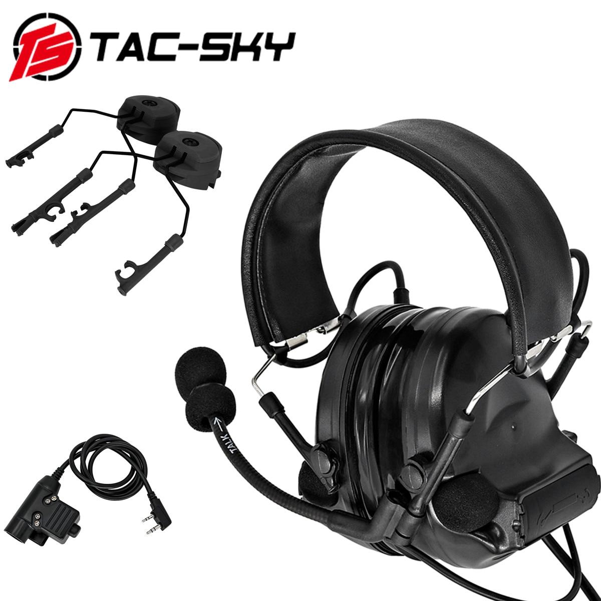 TAC-SKY Tactical Hunting COMTAC II Noise-cancelling Pickup Headphones + Tactical PTT U94 PTT +ARC OPS-CORE Helmet Track Adapter