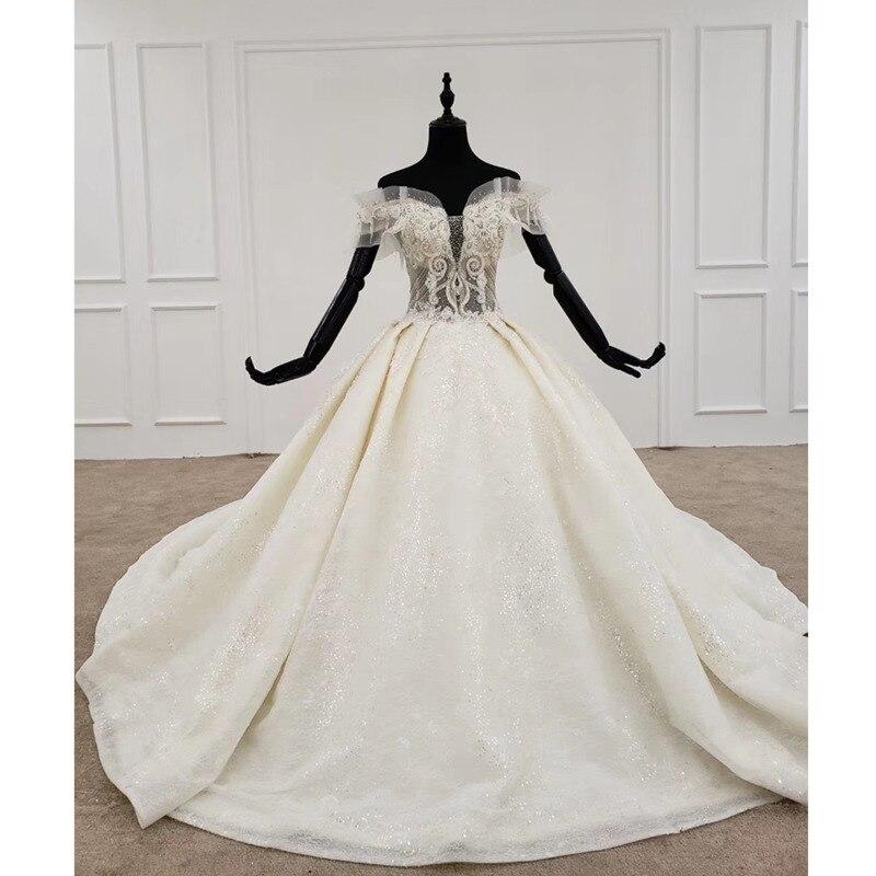 BGW HT4727 Vestido De boda De corte princesa De hombro De cristal rebordear encaje De perlas Up De talla grande Vestido De Novia Bohemio