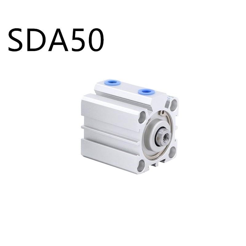 Envío Gratis cilindro Delgado serie SDA50 5mm a 100mm trazo aleación de aluminio aire cilindro componentes neumáticos
