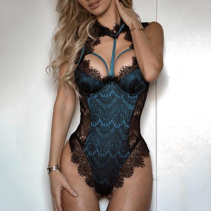 Picardías de lencería Sexy para mujer, Bodi Porno de encaje, Body Sexy erótico para mujer, Catsuit, ropa interior de baile en barra, lencería de noche