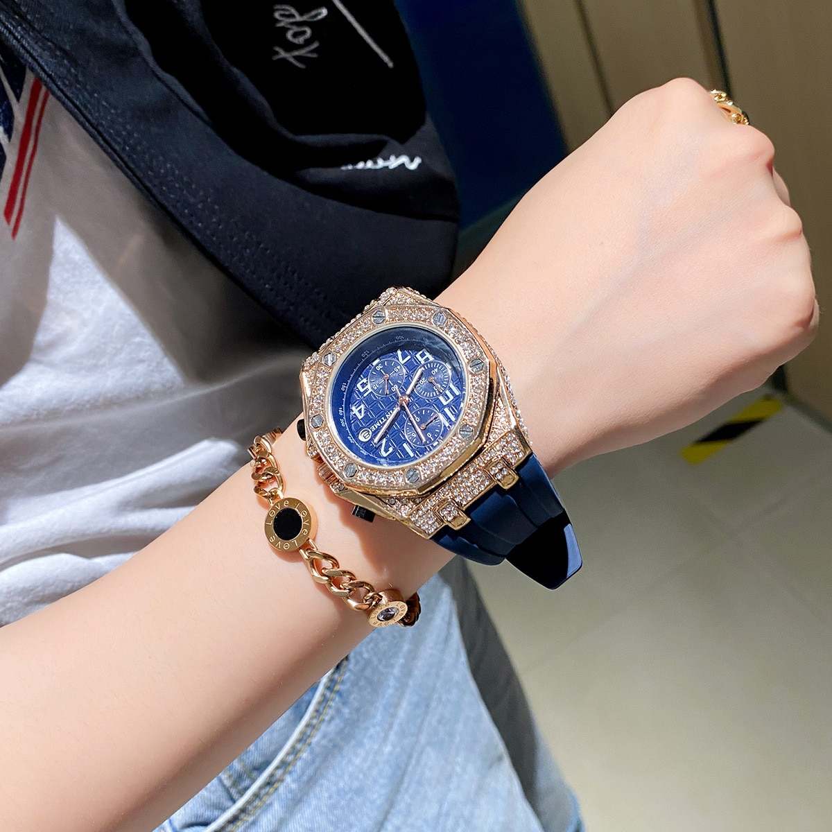 Luxury brand sports watch ladies chronograph diamond military gold ice out men's watch waterproof relogio masculino montre homme enlarge