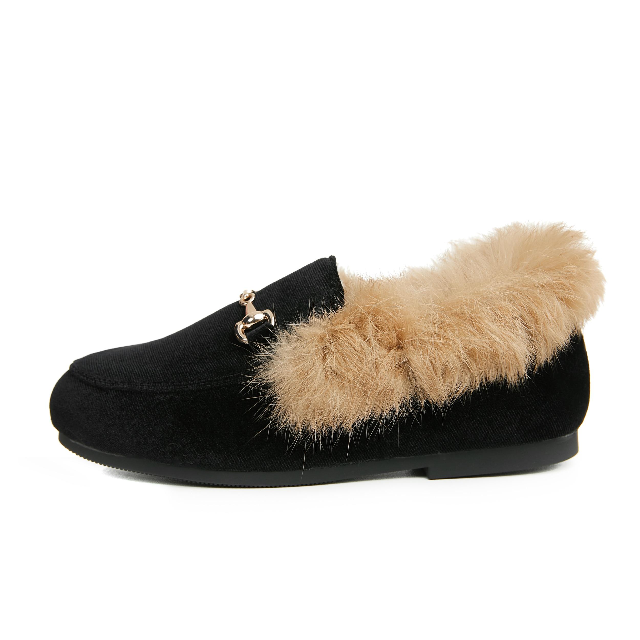 Winter Kids Fur Shoes Children Velvet Shoes Baby Girls Warm Flats Toddler Black Brand Shoes Princess