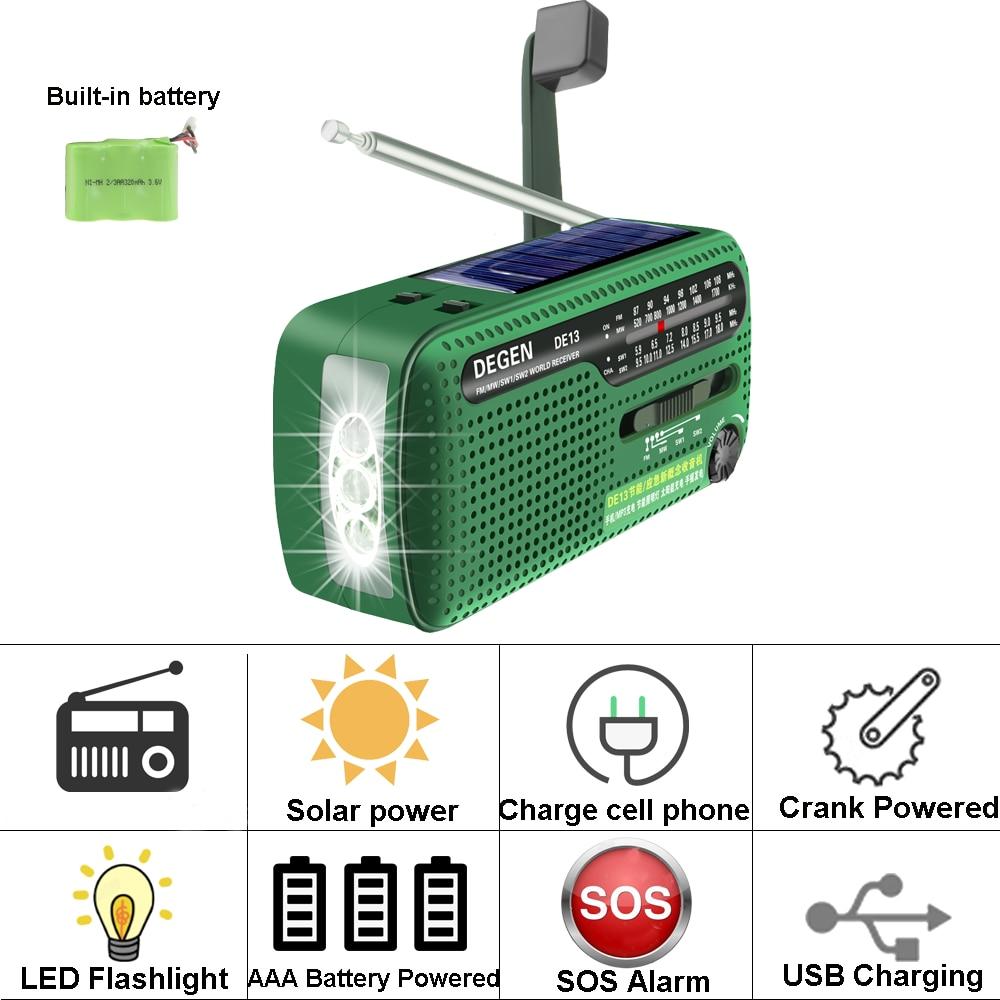 DEGEN DE13 Flashlight FM Sun Alarm Clock Radio Can Power Your Phone, Call For Help Suitable for Wild Adventures in an Emergency enlarge