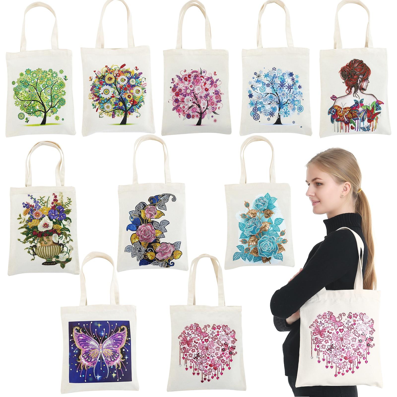 Diamond Painting Tote Bag Reusable Durable DIY Diamond Art Handbag Foldable Storage Bag Cross Stitch Embroidery Kit Art Craft